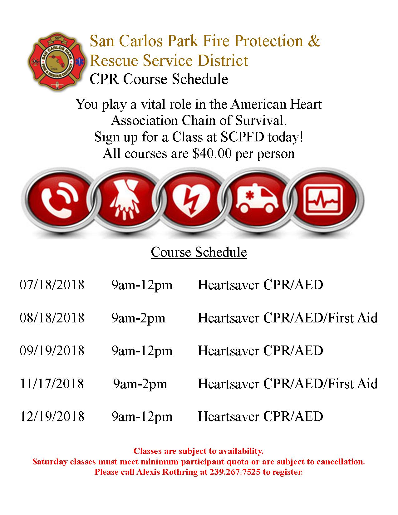 Heartsaver Cpr Classes San Carlos Park Fire Protection And Rescue