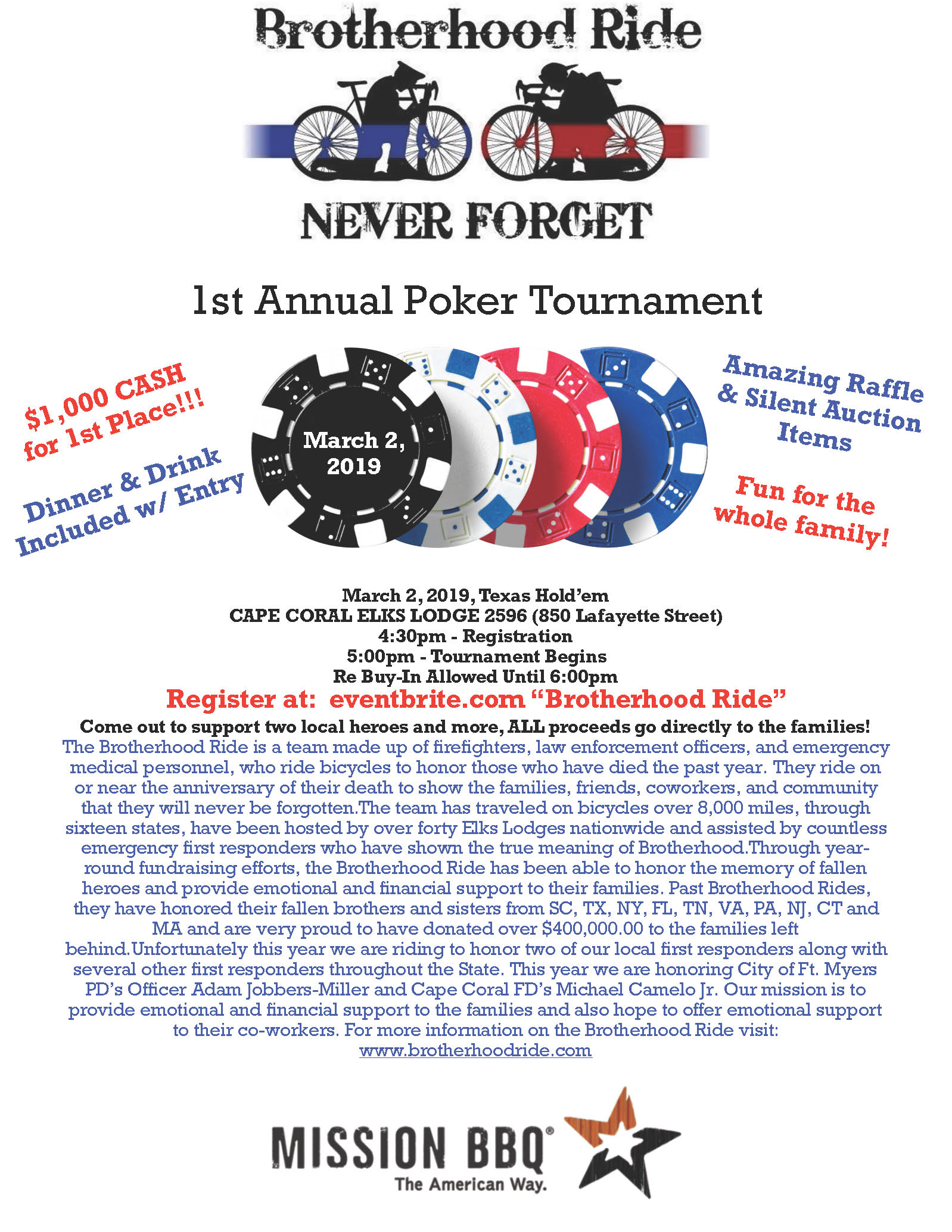 1st Annual Brotherhood Ride Poker Tournament San Carlos Park Fire Protection And Rescue Service District